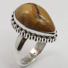 Handmade Ring Size US 6.25 Genuine PICTURE JASPER Gemstone 925 Sterling Silver #SunriseJewellers #Fashion