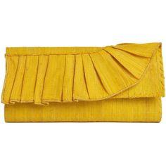 Mar Y Sol Gabriella Fair Trade Ruffle Clutch ($115) ❤ liked on Polyvore featuring bags, handbags, clutches, purses, yellow, mar y sol handbags, yellow purse, striped purse, striped handbag and ruffle handbag