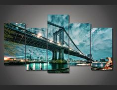 Octo Treasures is where artists, photographers, and commercial decorators go when they want their most important work printed and their most important spaces decorated.  Start creating your own customized wall art click the link for more info https://www.octotreasure.com  Style Your Home Today With This Amazing 5 Pieces/set Modern Decorative Picture Printed brooklyn manhattan bridge Painting wall art room decor print poster picture For $27.00