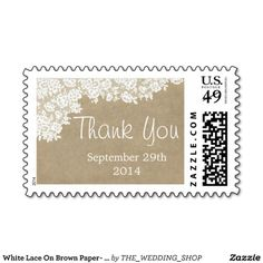 White Lace On Brown Paper- Rustic Elegant Wedding Stamps