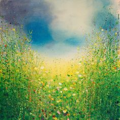 "Saatchi Art Artist: Sandy Dooley; Acrylic 2013 Painting ""Yellow and Green Landscape"""
