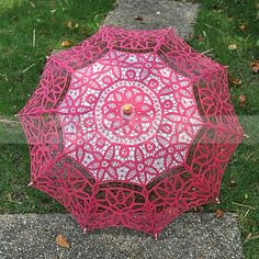Fuchsia Embroidered Cotton Floral Wedding Umbrella