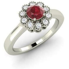 Diamondere Round Ruby VS Diamond 14k White Gold Vintage Ring