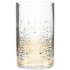 Clear Cylinder Vase with Gold Confetti