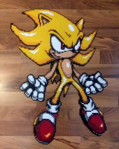 """@piknperlers on Instagram: """"Super Sonic The Hedgehog Perler Beads 7,500 beads 15hrs of work 26.5""""x19.5"""" 50 mins ironing has to…"""""""
