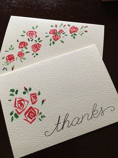 Card set, two cards and two envelopes, brush painted Roses, floral embellished hand painted Thank you note with painted envelope stationary