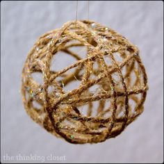 DIY {Glitter} Twine Ball Ornament.  Easy to follow step-by-step tutorial