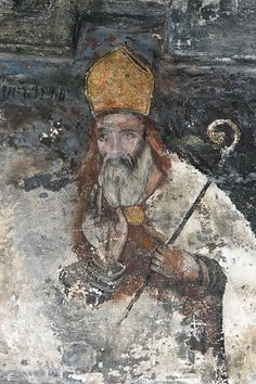 Mural painting inside the Saghmosavank Monastery. The Saghmosavank is a 13th-century Armenian monastic complex located in the village of Saghmosavan in the Aragatsotn Province of Armenia. (V)