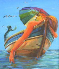 Original Fantasy Painting by Panna Wodna Walking Sticks And Canes, Wooden Walking Sticks, Wooden Canes, Water Nymphs, Summer Art, Sirens, Saatchi Art, Cool Art, Original Paintings