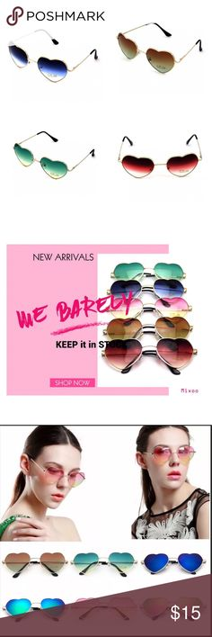 Love Heart Shaped Lens Glasses Metal frames 100% UV400 mirrored lense technology RED, BLUE, GREEN, BROWN Accessories Sunglasses
