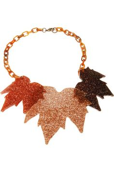 Fallen leaves giant chain necklace