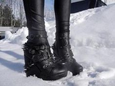 Cyberpunk Shoes, Future Fashion, Neo Punk, Alternative Girl, Aggressive Shoes, Goth Girl, Black Leggings, Dystopian Fashion, Goth Shoes by FuturisticNews.com by crucs.ansata