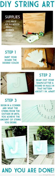 J letter String Art, step by step (tutorial) | String Art DIY | Free patterns and templates to make your own String Art
