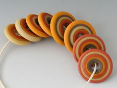 Southwest Discs - (8) Handmade Lampwork Beads -Red Tile, Chocolate - Etched, Matte - Pairs