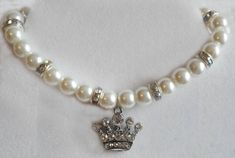 Tiara Charm Pearl Dog Collar Pearl Cat Collar by KATcustomDESIGNS, $17.00