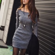 Stylish Square Neck Shoulder Hollow Out Solid Color Long Sleeve Slimming Ribbed Cotton Women's Dress, DEEP GRAY, ONE SIZE in Bodycon Dresses | DressLily.com