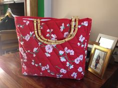 Cherry blossom quilted handbag