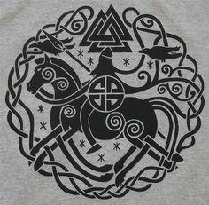 Odin Sleipnir Valknut Rune Norse Vikings Long Sleeve T-Shirt (Small-XL) Choice of Colors BL