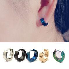 1 Pair Stainless Steel Hoop Ear Piercing Earrings Studs Jewelry for Women Men Black Stud Earrings, Gold Bar Earrings, Diamond Drop Earrings, Unique Earrings, Ear Earrings, Earring Studs, Crystal Jewelry, Crystal Earrings, Fine Jewelry