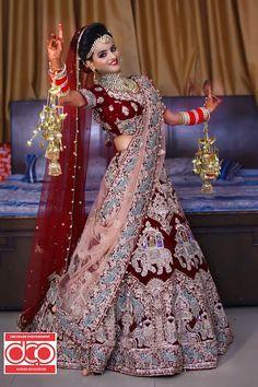 """Dee Color Producers """"Portfolio"""" album - Wedding Bridal Lehenga - Bride in Amazing Saree Gown. Indian Bride Photography Poses, Indian Bride Poses, Indian Wedding Poses, Indian Bridal Photos, Indian Wedding Couple, Wedding Couple Poses Photography, Indian Bridal Outfits, Indian Bridal Fashion, Bridal Photography"""