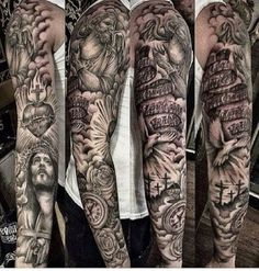 Many people mistake tattoos with more modern, rebellious cultures such as the alternative and pop-culture. Despite a lot of people being convinced that tattoos are a new thing and despite many peop… Holy Tattoos, Evil Tattoos, Badass Tattoos, Leg Tattoos, Tattoo Arm, Calf Tattoo, Religious Tattoos For Men, Religious Tattoo Sleeves, Biblical Tattoos