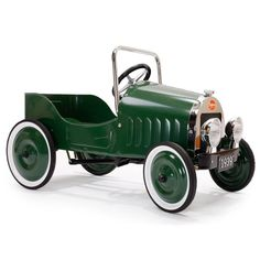 Your child will be riding in style in this classic Baghera Pedal Car. Shop this vintage metal push or pedal car, available in green or red from The Tot. Aston Martin Db5, Ford Gt, Vintage Models, Vintage Toys, Vintage Vespa, Vintage Trucks, Jaguar E Typ, Pedal Cars, Rubber Tires