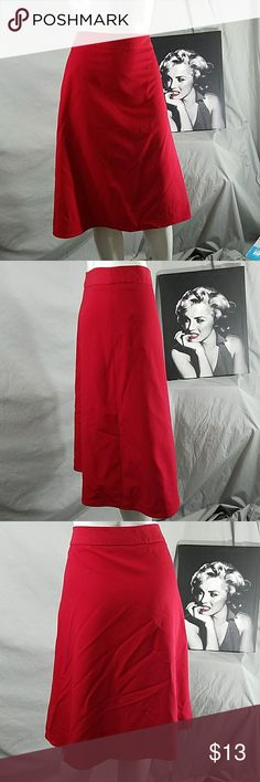 Cherry RED Skirt Zipper on side  34 - 36 waist  24 length Larry Levine Skirts Midi
