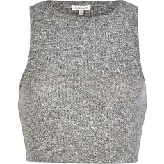 River Island Grey marl rib fitted crop top (49 VEF) ❤ liked on Polyvore featuring tops, crop tops, shirts, crop, grey, sale, slim fit shirt, grey top, high neck crop top and high neck top