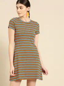 United Colors of Benetton Women Multicoloured Striped T-shirt Dress