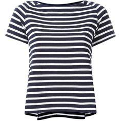 Sacai Striped Tee - Navy (€130) ❤ liked on Polyvore featuring tops, t-shirts, kirna zabete, sale /, raglan tees, navy blue top, striped boatneck tee, boatneck tee and stripe boatneck tee