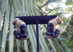 Vintage African Mother and Child Gold-Tone & Matte Black Earrings by AyQueBella - Visit my Etsy shop: www.etsy.com/shop/AyQueBella