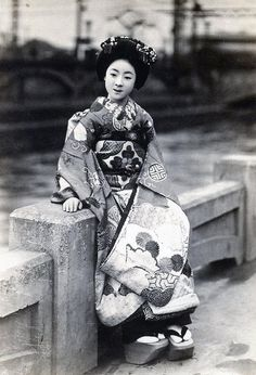 Maiko by the River 1920s, industrial background- by Blue Ruin1, via Flickr