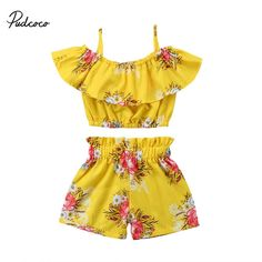 63ac85970c Girl Summer Clothing Off Shoulder Ruffle Tops Elastic Shorts