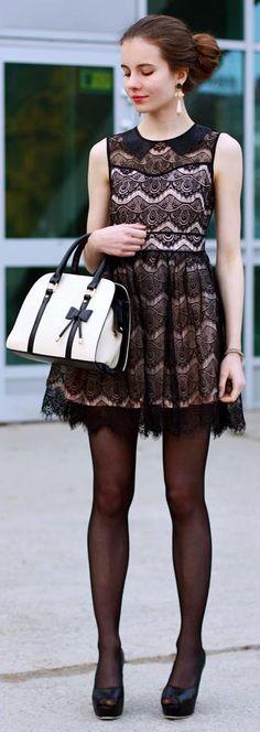 Flared lace dress, white handbag and original earrings http://helpihavenothingtowear.blogspot.com/2013/11/koronkowa-rozkloszowana-sukienka-biaa.html