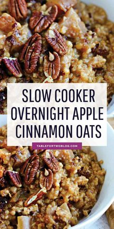 Slow Cooker Overnight Apple Cinnamon Oats – Overnight Oats Recipe Throw the ingredients in your slow cooker before bed and you'll have warm overnight apple cinnamon oats ready when you wake up! Good Healthy Recipes, Healthy Breakfast Recipes, Healthy Foods To Eat, Brunch Recipes, Whole Food Recipes, Healthy Eating, Healthy Oatmeal Breakfast, Vegan Recipes Plant Based, Dinner Healthy