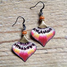 Your place to buy and sell all things handmade Paper Earrings, Polymer Clay Earrings, Diy Earrings, Earrings Handmade, Handmade Jewelry, Glass Earrings, Tin Jewelry Diy, Recycled Jewelry, Metal Jewelry