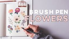 How To Draw Flowers With Brush Pens + Markers Brush Tip Markers, Tombow Brush Pen, Tombow Markers, Brush Pen Art, Easy Flower Drawings, Flower Drawing Tutorials, Art Tutorials, Painting Tutorials, Peony Drawing