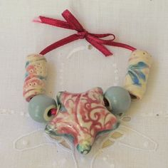 Hollow Puff Star Porcelain 5 Bead Set by Porcelain Jazz Artisan Component Marketplace  $18.00