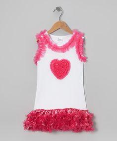 White & Hot Pink Heart Ruffle Dress - Infant, Toddler & Girls | zulily