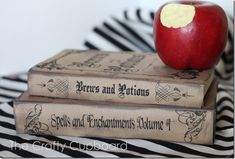Halloween Spells and Potions Book Covers_The Crafty Cupboard.  Love the bitten apple as an added touch.