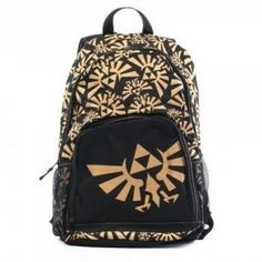 Stow all your adventuring gear (or just your homework) in style with this officially licensed Legend of Zelda backpack! Black backpack measures approximately 16-inches tall by 10-inches wide and features an all-over design of bright gold Triforce symbols, with one large Triforce printed on the exterior pocket. $33.19 #nintendo #zelda #backpack #videogames