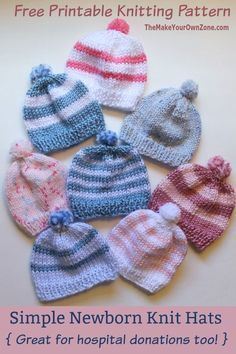 Knitting Newborn Hats for Hospitals - The Make Your Own Zone Free Knitting Pattern - Simple Newborn Knit Baby Hat. Easy for beginners and a good pattern for hospital donations too. Baby Hat Knitting Patterns Free, Baby Hat Patterns, Baby Hats Knitting, Easy Knitting, Sweater Patterns, Children's Knitted Hats, Knitting Beginners, Knit Baby Sweaters, Newborn Knit Hat