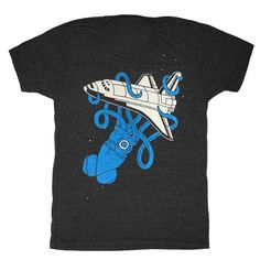Squid vs Space Shuttle  Unisex Mens T-Shirt 2001 Kraken UFO