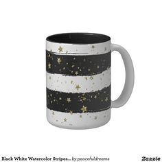 Black White Watercolor Stripes Gold Glitter Stars Two-Tone Coffee Mug