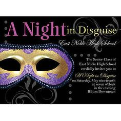 These Midnight Masquerade Personalized Invitations feature a purple and gold masquerade mask with swirls and dots surrounding your custom text.
