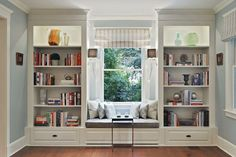 19 Trendy home library room awesome window seats Home Decor Bedroom, Decor, Window Seat Design, Home Library Rooms, Bookshelves Built In, Home Office Design, Home Decor, House Interior, Trendy Home