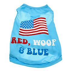Dog Shirt / T-Shirt Blue Dog Clothes Summer National Flag / American/USA