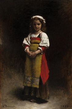 "Léon Bonnat: ""Italian Girl"", 1880,  oil on canvas, Oil on canvas Dimensions: Overall: 24 1/2 × 16 5/8in. (62.2 × 42.2cm), Current location: Munson-Williams-Proctor Arts Institute, Utica, New York."