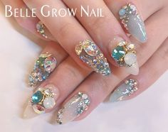 Cute Nail Art, Cute Acrylic Nails, Cute Nails, Pretty Nails, Gem Nails, Diamond Nails, Hair And Nails, Korea Nail Art, Anime Nails