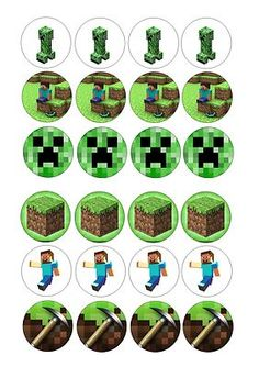 24 icing cupcake cake toppers decorations edible minecraft mine craft creeper